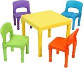 Kinder multi-gekleurde tafel en 4 stoelen set (8809N)