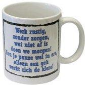 Slogan mok Werk rustig...