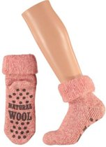 Wollen huis sokken voor dames roze 35-38