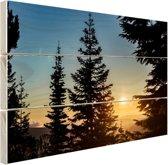 Zonsopkomst nationaal bos Hout 120x80 cm - Foto print op Hout (Wanddecoratie)
