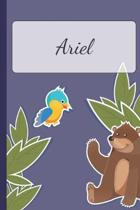 Ariel: Personalized Notebooks - Sketchbook for Kids with Name Tag - Drawing for Beginners with 110 Dot Grid Pages - 6x9 / A5
