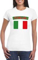 T-shirt met Italiaanse vlag wit dames S