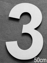 Xaptovi Huisnummer 3 Materiaal: RVS - Hoogte: 50cm - Kleur: RVS