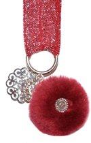 Armband - Glitter, Red & Pompon