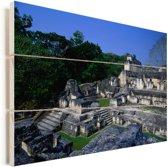 Maya-ruïnes van oude stad Tikal Vurenhout met planken 90x60 cm - Foto print op Hout (Wanddecoratie)