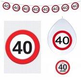 40 jaar verkeersbord versiering basis set - 40ste verjaardag decoratie