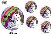5x Folie ballon Happy birthday Eenhoorn 45cm