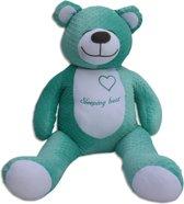 Grote zoemende teddybeer - slaapknuffel - met witte ruis geluid - circa 130cm - turquoise