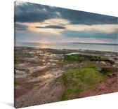 Rood zandsteenstrand bij de Fundybaai Canvas 140x90 cm - Foto print op Canvas schilderij (Wanddecoratie woonkamer / slaapkamer)