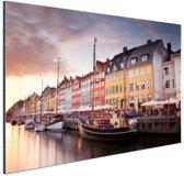 Zonsondergang Nyhavn Aluminium 120x80 cm - Foto print op Aluminium (metaal wanddecoratie)