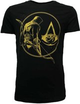 Assassin's Creed Origins Bayek met Logo T-Shirt Zwart/Goud, Maat: XL