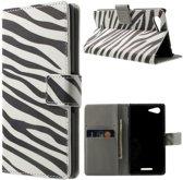 Zebra print wallet hoesje Sony Xperia E3