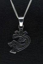 Zilveren Indiaan Kokopelli vrije stijl middel hopi style ketting hanger