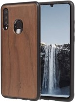Huawei P30 Lite hoesje - Woodcessories - Walnotenhout - TPU