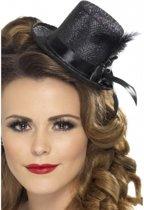 Zwarte mini hoge hoed met veer