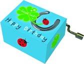 Fridolin Muziekdoosje: '' happy birthday'' hoefijzer, klaverblad, lieveheersbeestje