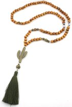 Lange ketting met Cactus, houten kralen en Boeddha - 85cm - Musthaves