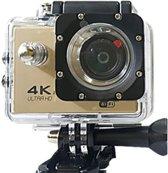 Action Sports Camera 4K Ultra HD Wi-Fi Waterproof - Goud+32GBSD KAART