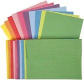 Kaarten met envelop, afmeting kaart 10,5x15 cm, kleuren assorti, 50 assorti