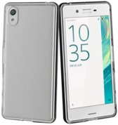 Sony Xperia X Performance Ultra Thin 0.3mm Gel Silicone Transparant Case Hoesje + Glazen Screenprotector Tempered Glass 2.5D 9H (0.3mm)