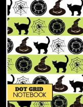 Dot Grid: Halloween Cat Cauldron Spider and Witches Hat Print - Halloween Dot Grid Notebook for Teens, Students and Adults