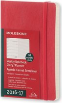 Moleskine agenda 2016 2017 18 Months Planner Weekly Notebook Pocket Scarlet Red Soft Cover