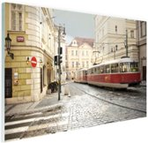 FotoCadeau.nl - Tram in Praag Glas 30x20 cm - Foto print op Glas (Plexiglas wanddecoratie)