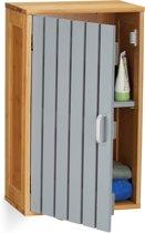 relaxdays Hangende badkamerkast - hangkast badkamer - opbergkast - bamboe - kast