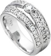 Diamonfire - Zilveren ring met steen Maat 17.5 - 3 banden met railzetting