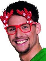Rode rendier kerst bril - Verkleedattribuut