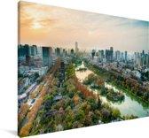 Uitzicht over het Chinese Hefei met een kleurrijke hemel Canvas 180x120 cm - Foto print op Canvas schilderij (Wanddecoratie woonkamer / slaapkamer) XXL / Groot formaat!