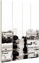 FotoCadeau.nl - San Francisco zwart-wit Hout 80x120 cm - Foto print op Hout (Wanddecoratie)