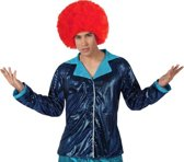 Glanzende blauwe discovest voor mannen - Verkleedkleding - M/L