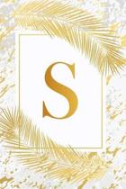 S: Pretty Gold & Ivory White Marble Initial Monogram Letter S and Feathers, Personalized 150 Blank Lined Journal & Notebo