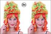 2x Pruik hofdame Rood/Geel/Groen