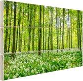 Groene bomen in het bos Hout 160x120 cm - Foto print op Hout (Wanddecoratie) XXL / Groot formaat!