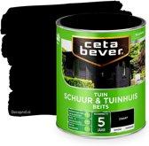 Cetabever schuur & tuinhuis beits dekkend zijdeglans zwart - 750 ml.