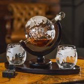 Global Prestige - Luxe Globe Karaf Set - Met Onderstel - Gift box - Whiskey Wereldbol - Whiskey Globe - Whiskey Karaf - The Complete Set - Inclusief Whisky Stones - Bruin