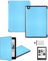 Kunstleren Sleepcover Beschermhoes Voor de Kobo Aura Edition 2 Ereader Editie 2nd - 6 Inch Slimfit Smart Case Cover Sleeve Hoes - Licht Blauw