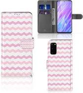 Samsung Galaxy S20 Telefoon Hoesje Origineel Cadeau Waves Roze