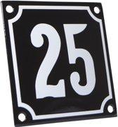 Emaille huisnummer zwart/wit nr. 25 10x10cm