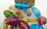 Glaskralen / ovale kralen mix kleur ca. 1000 gram