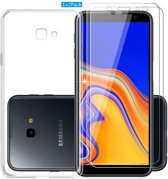 Samsung Galaxy J4 Plus 2018 Hoesje - Transparant TPU Siliconen Case & 2X Tempered Glas Combi - Transparant