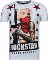 Local Fanatic Marilyn Rockstar - Rhinestone T-shirt - Wit - Maten: XXL