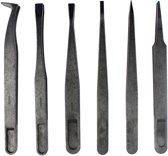 Let op type!! JF-S6in1 6 in 1 Anti-static Carbon Fiber Straight and Curved Tip Tweezers(Black)