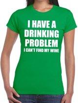 Drinking problem wine tekst t-shirt groen dames XL