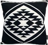 Ava Aztec 2 Kussenhoes | Katoen/Flanel | 45 x 45 cm | Zwart/Wit