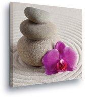 Zen Garden Stone Pile Sand Flower Canvas Print 80cm x 80cm
