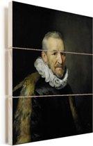 Portret van een man - Schilderij van Michiel Jansz van Mierevelt Vurenhout met planken 120x160 cm - Foto print op Hout (Wanddecoratie) XXL / Groot formaat!