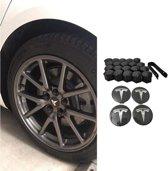 Tesla Model 3 S X Aero Wheel Cap Kit Wieldoppen Auto Accessoires Naafdoppen Nederland en België – OEM – Naafdoppen – Zwart Zilver